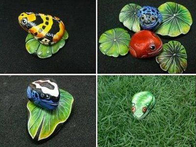 Frogs look complicated but lily pads would look sweet!
