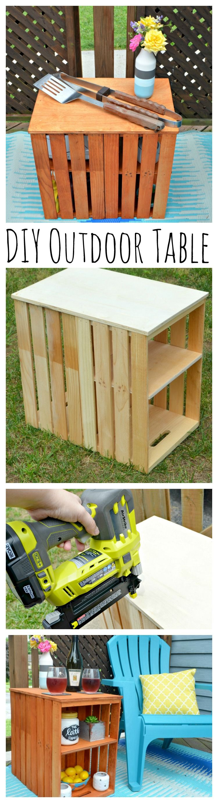 DIY Wooden Crate Outdoor Table | Diy projects patio, Crate ...