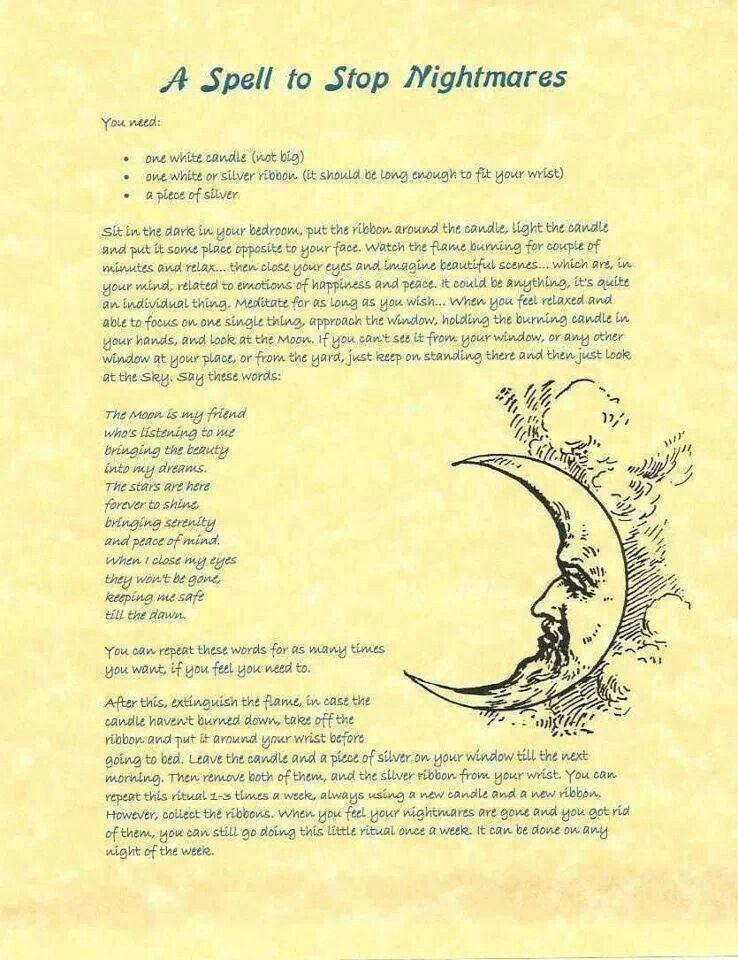 Spell to stop nightmares | Prayer | Book of shadows