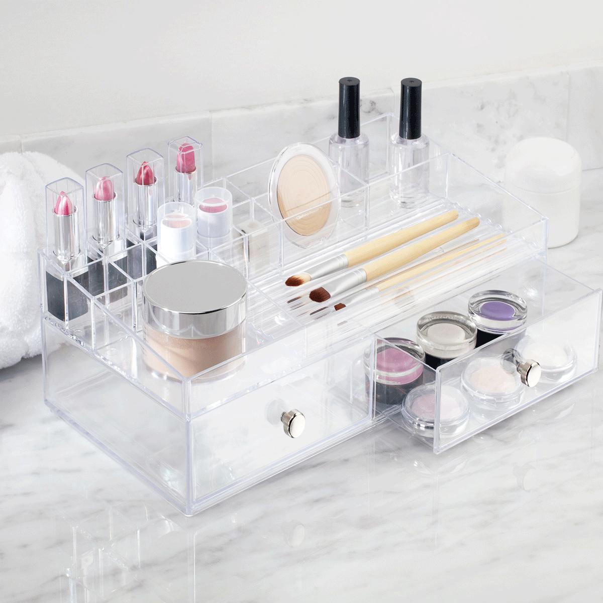 boîte de rangement pour maquillage avec tiroirs et compartiments en