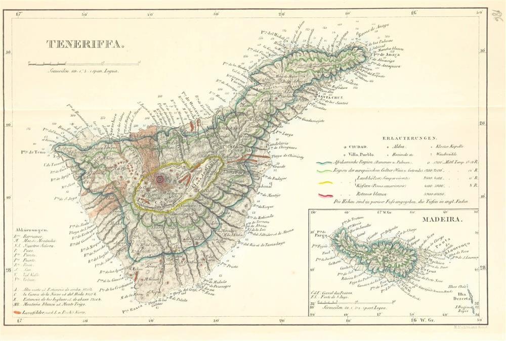 Mapa botánico de las islas de Tenerife y Madeira. Tenerife y ...