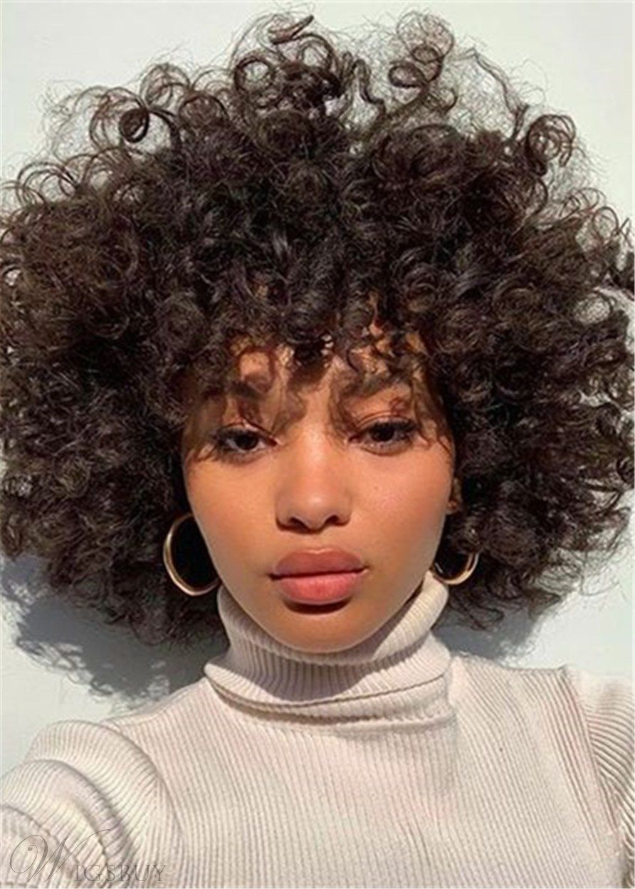 African American Afro Curly Shoulder Length Synthetic Hair Women