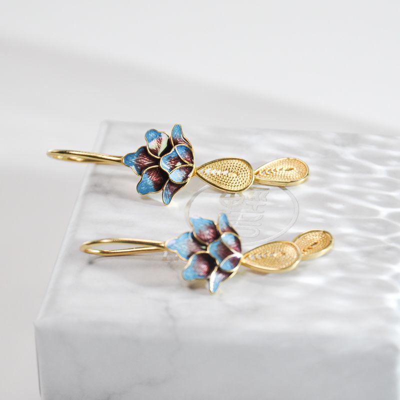 Lotus - Burning Blue Cloisonné Silver Earrings