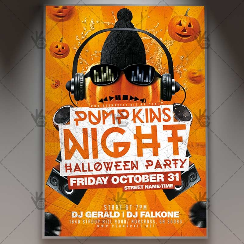 Pumpkin Night - Halloween Flyer PSD Template #blood #ghostparty - zombie flyer template