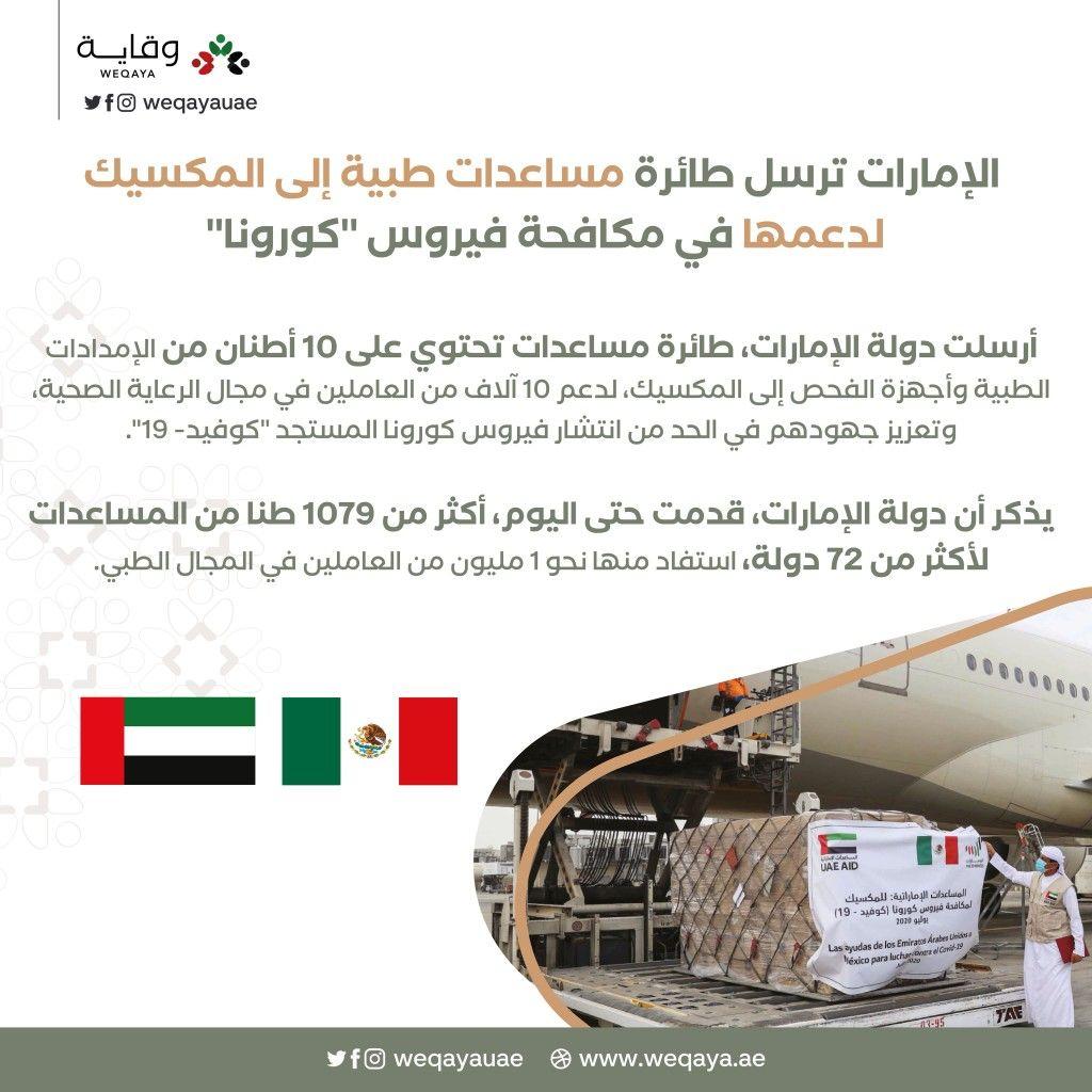 الإمارات ترسل طائرة مساعدات طبية إلى المكسيك In 2020 Ole