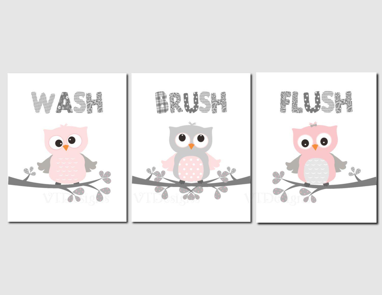 Girls Bathroom Art Decor Pink Gray Owl Bathroom Kids