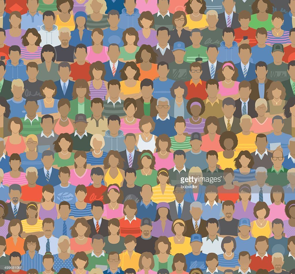 Vector Illustration of a Crowd of People in a Seamless