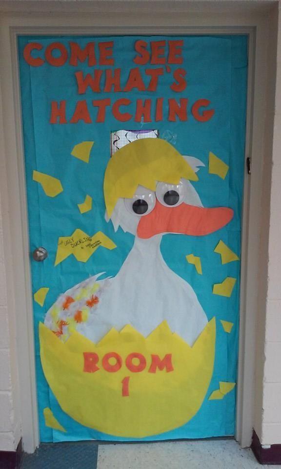 Hatching Egg Duck Classroom Door Spring Time Fairy Tale