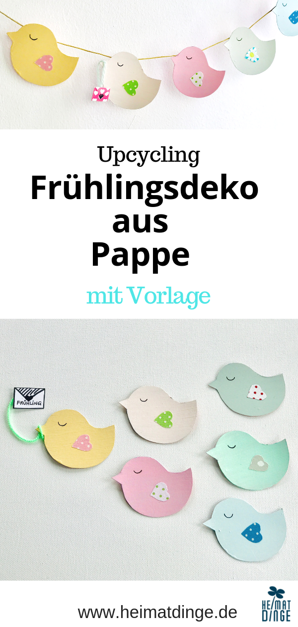 Frühlingsdeko basteln: Upcycling Girlande aus Pappe