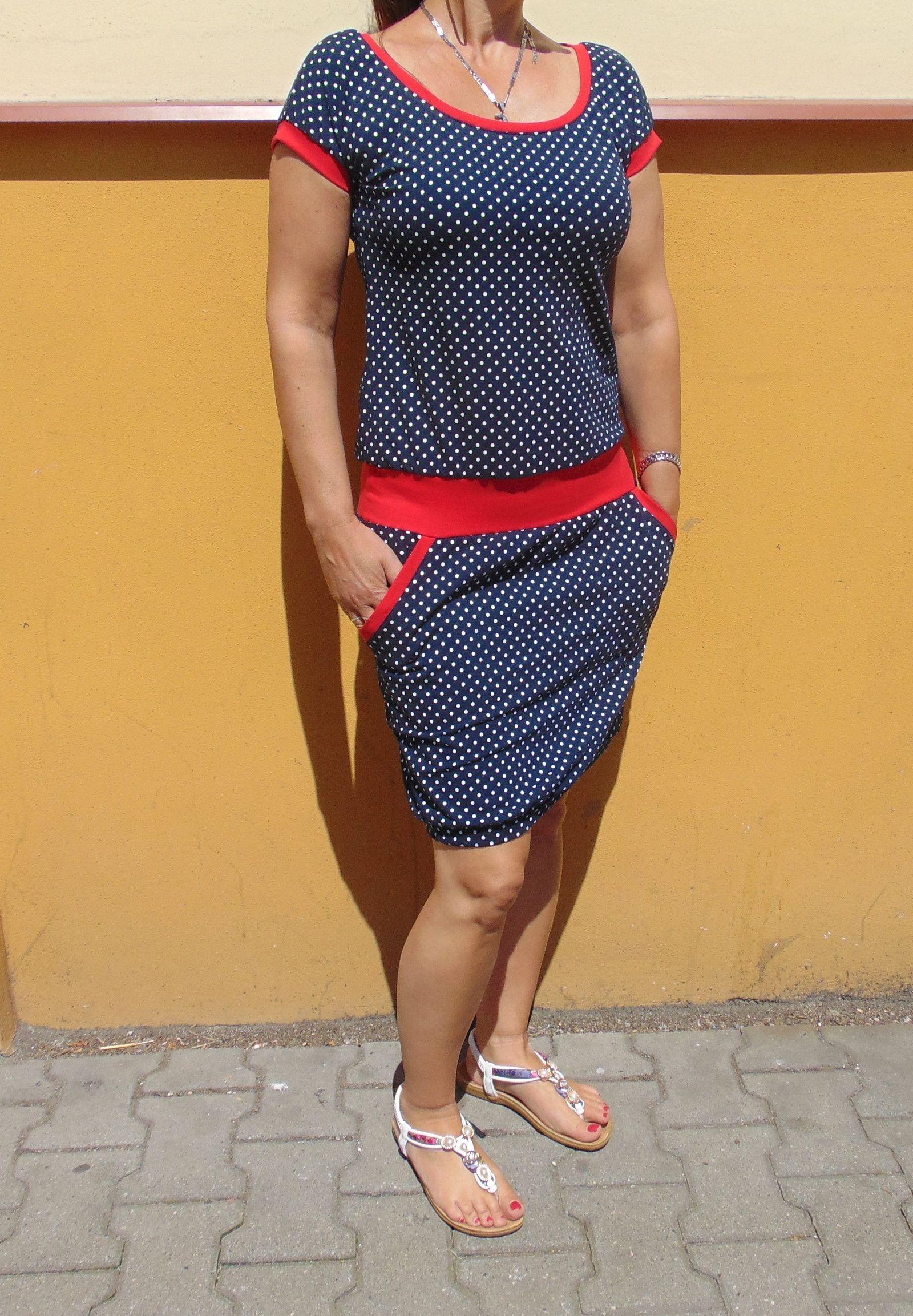 baf1e9c1d630 šaty+puntik+na+tm.modré+s+červenou+jsou+ušité+z+bavlněného+úpletu+95%bavlna+5%elastan  +střih+mírně+projmutý