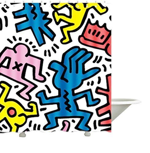Modern Keith Haring Collection Bath Polyester Fabric Show Https