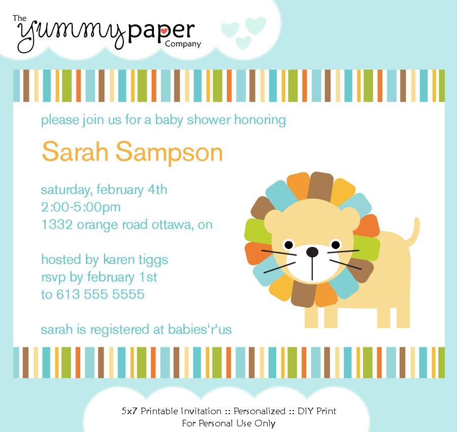 Blue Lion Baby Shower Invitation ... Custom Printable Digital Invite ...