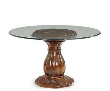 Carved Wood Base Melange Finish Round Glass Top Dining Table
