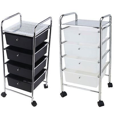 4 Drawer Trolley Mobile Office Salon Storage Cart Wheels Unit By Home Discount Stylist Stations Furniture Sal Bedroom Storage Black White Kitchen Drawers