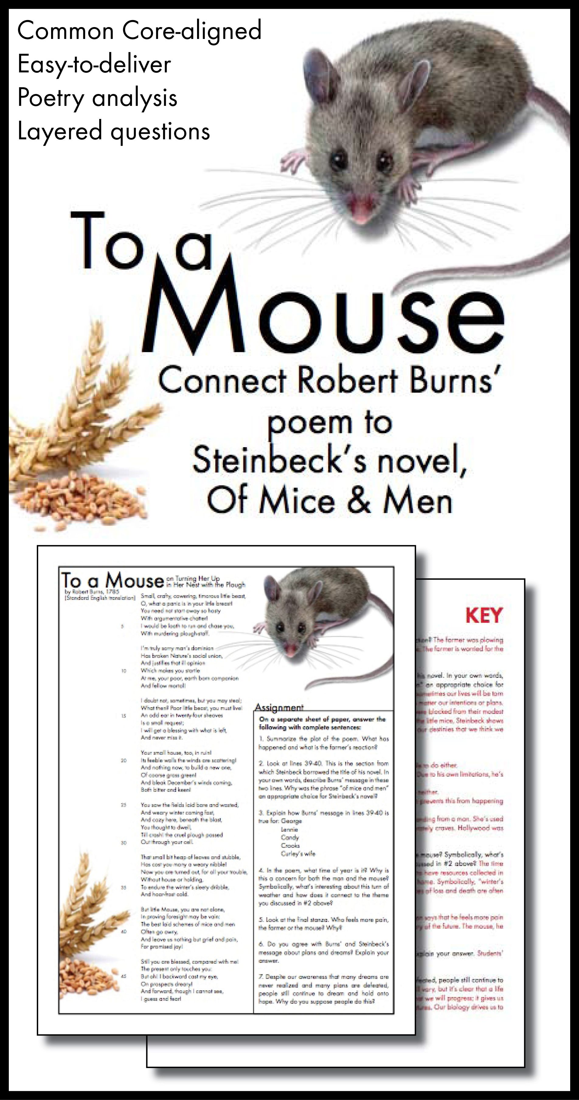 To a Mouse – Connect Robert Burns' Poem to Steinbeck's Of ...