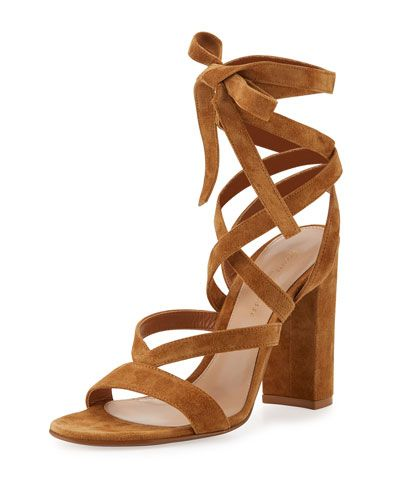 5b551ac5af647 Janis High Suede Lace-Up 105mm Sandal Almond | *Neiman Marcus ...