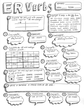 This worksheet provides students with the opportunity to practice working regular er verbs will conjugate translate also an original hand drawn rh pinterest