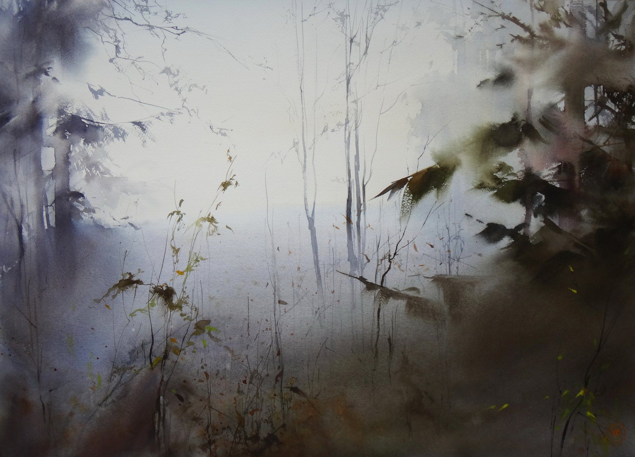 Ilya Ibryaev   - Early morning in the forest - watercolor 75 x 53 cm