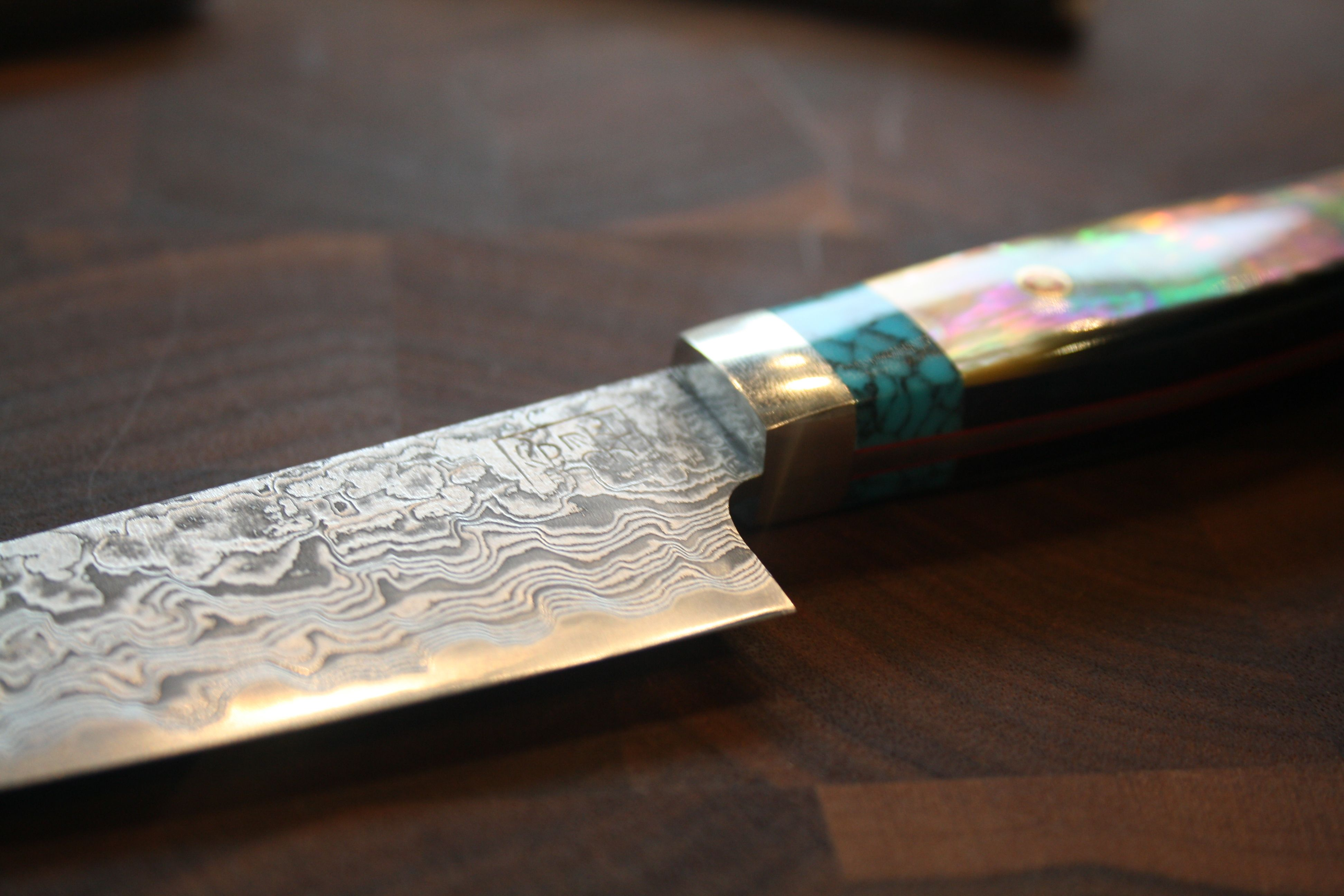 stunning japanese knife with turquoise inlaid handle a chef u0027s