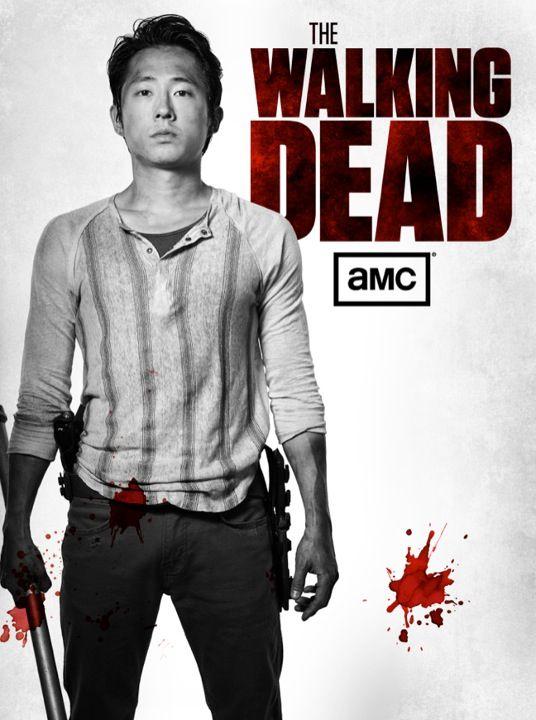 Glenn Black And White Blood Splatter Poster Twd Walking