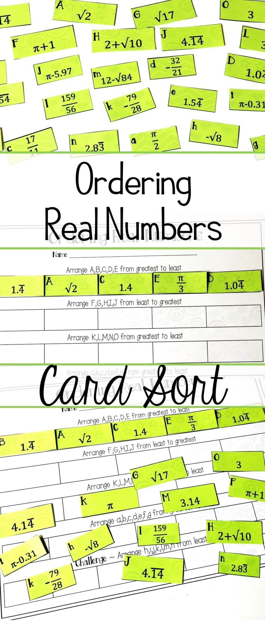 The Real Number System Worksheets Ordering Real Numbers