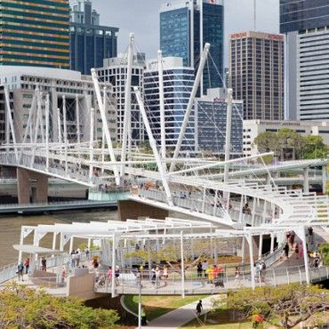 Kurilpa Bridge: is designed to represent the ships that once sailed into the Brisbane River in the city's infancy #architecture #design #brisbane #BNE #builtenvironment #BOH2013 #bneopenhouse #queensland