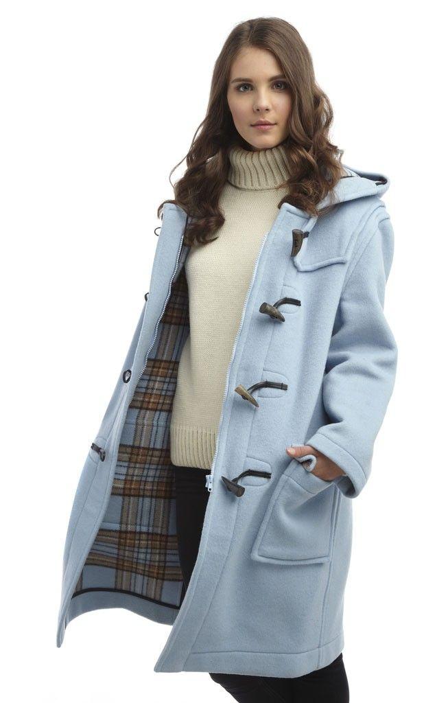 bb850297159c Womens Classic Fit Duffle coats -- Baby Blue