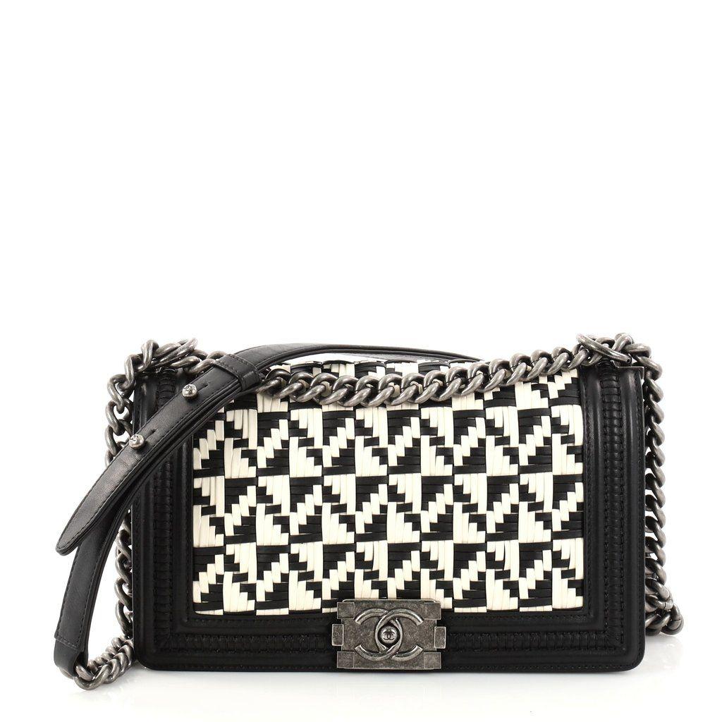 cf326697714e Buy Chanel Boy Flap Bag Woven Calfskin Old Medium Black 2799301 – Trendlee