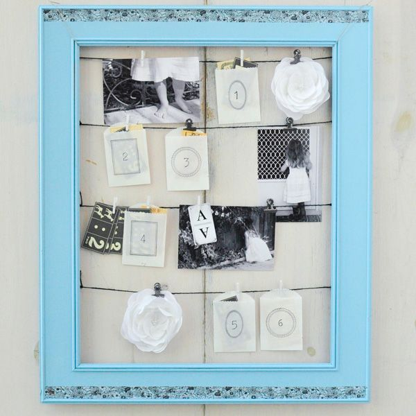 Start by painting an old frame with either spray paint or acrylic ...