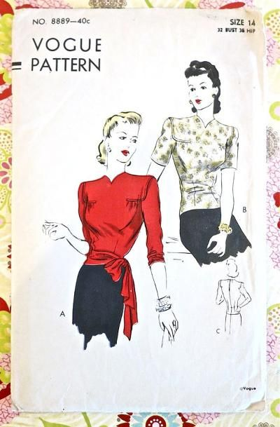 Vogue 8889 1940s Overblouse Pattern