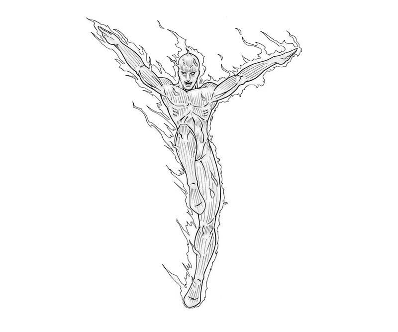 Printable coloring pages The Human Torch Superheroes