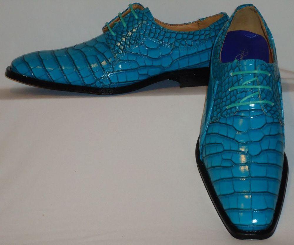 ddd26c8b1513e Mens Turquoise Aqua Gator-Look Dress Shoes 6563 Roberto Chillini Great  Color!  RobertoChillini  Oxfords