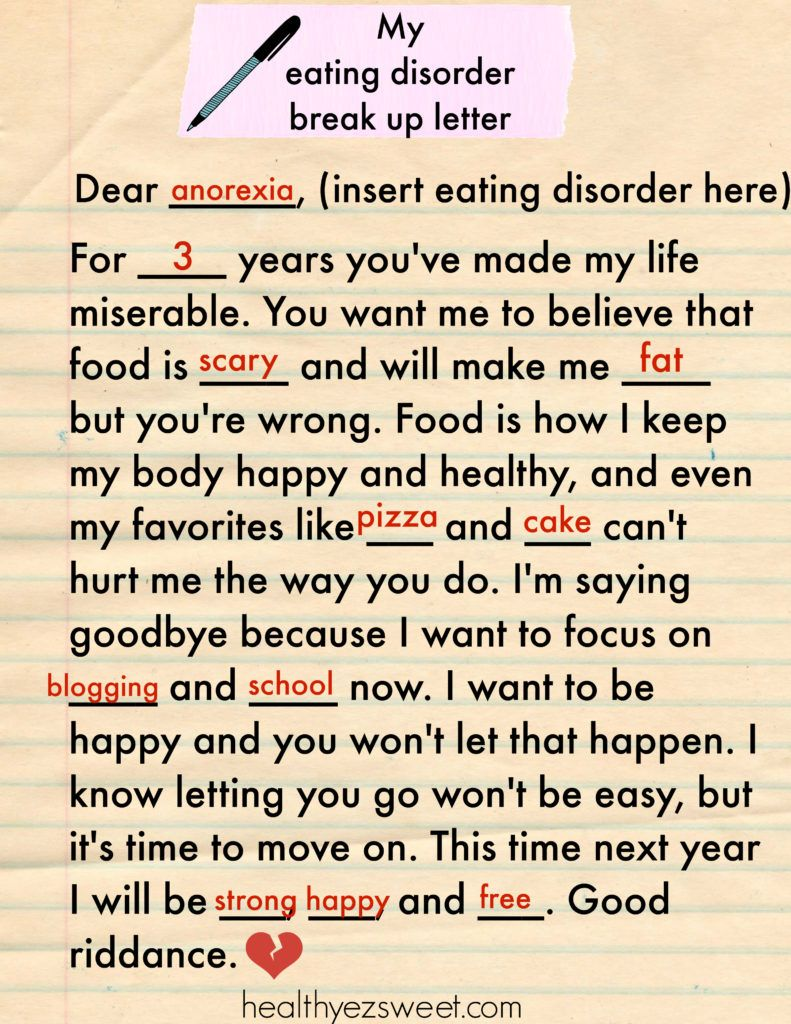 How to Write a Goodbye Letter to Your Eating Disorder FREE fill in
