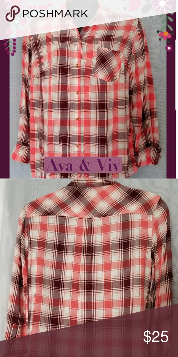 0620f5f1add Womens Pink Plaid Button Long Sleeve Shirt 1X Women s Ava   Viv Plaid Button  Collard Long Sleeve Shirt Plus Size 1X. One ppocket Tee Excellent Pre-owned  ...