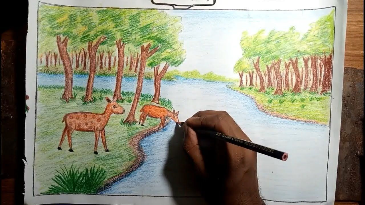 How to Draw Forest Scenery with Animals Step by Step