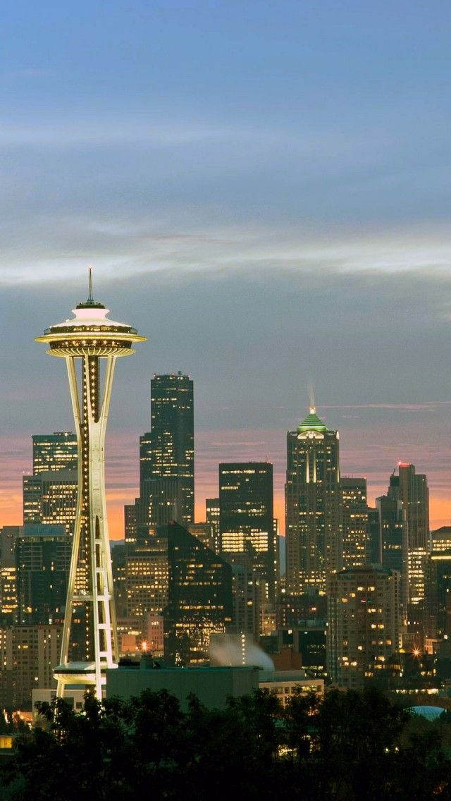 Seattle At Sunrise Washington Iphone 5 Wallpapers