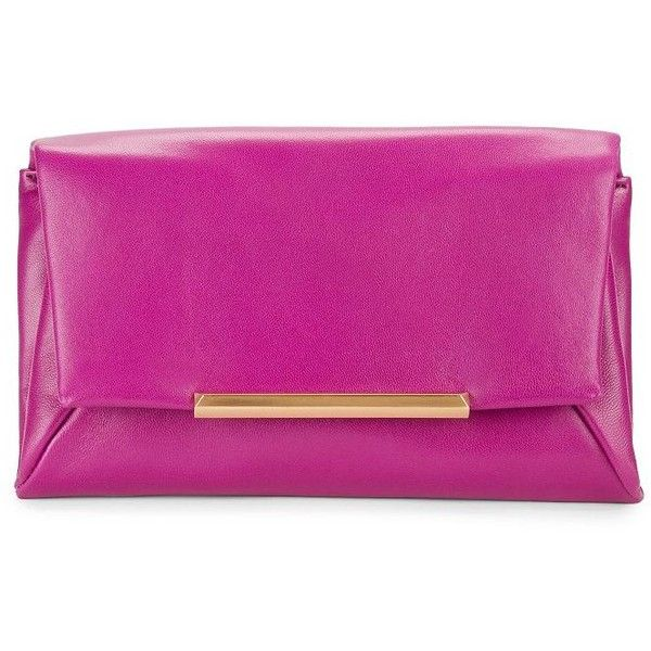 B Brian Atwood Jasmine Envelope Clutch (1.060 HRK) ❤ liked on Polyvore featuring bags, handbags, clutches, berry, leather clutches, pink envelope clutch, leather envelope clutch, leather handbags and real leather handbags
