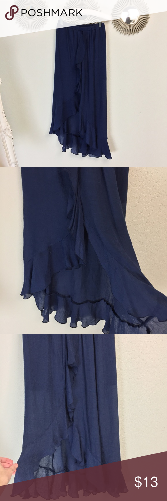 Navy blue ruffled high low maxi skirt my posh picks pinterest
