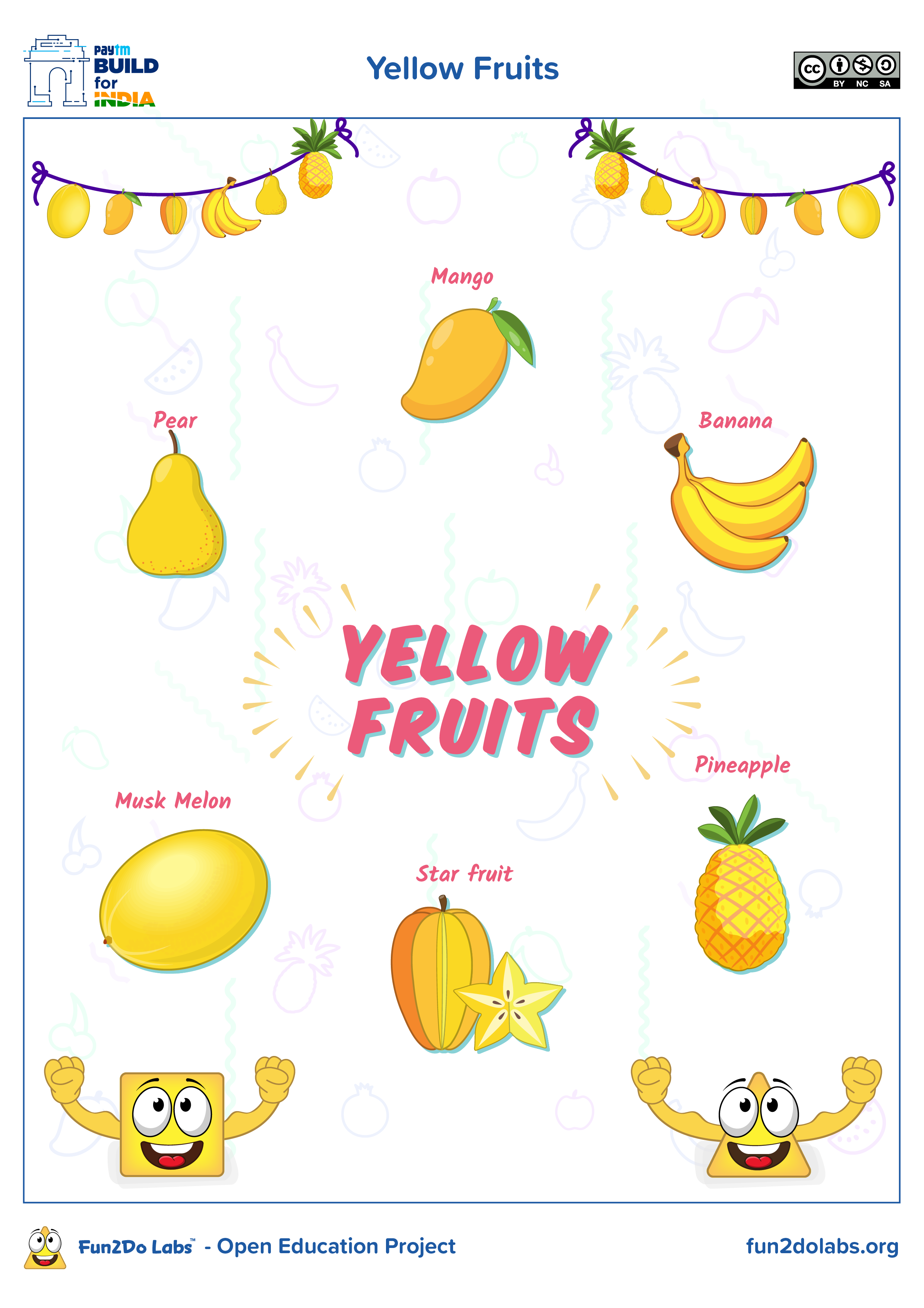 Yellow Fruits Shapes Preschool Writing Practice For Kids Fruit [ 3508 x 2480 Pixel ]