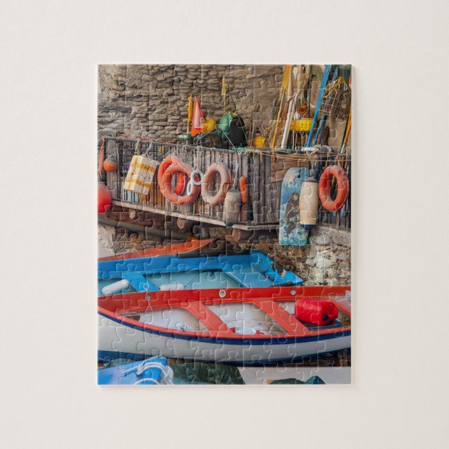 Boats in Cinque Terre Italy Jigsaw Puzzle #cinque #terre #italy #italia #italian #JigsawPuzzle