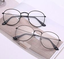 1698ffacd3e Men Women Vintage Oval Gold Eyeglass Frame Plain Glass Clear Full-Rim  Spectacles