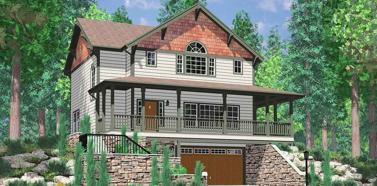 Plan 8131lb For The Front Sloping Lot Garage House Plans Craftsman House Plans Ranch House Plans
