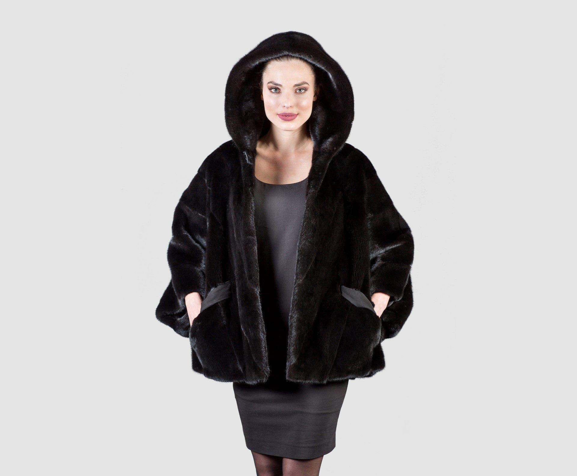 Black Mink Fur Jacket With Hood - 100% Real Fur Coats | Fur ...