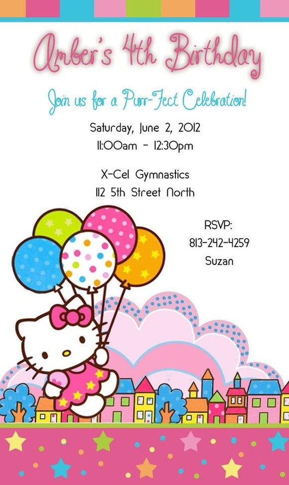 Hello Kitty Party Invitation Sample   Hello kitty invitations, Hello kitty birthday invitations ...