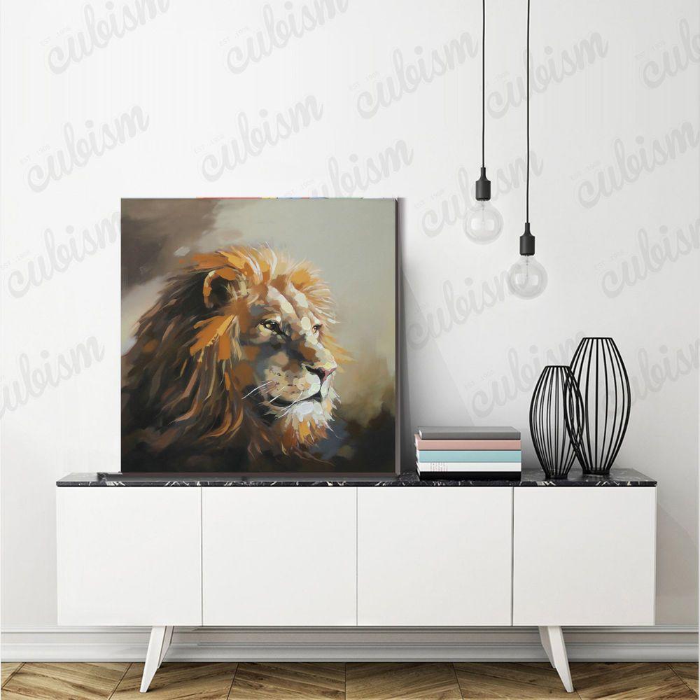 Lion oil painting handpainted on canvas modern wild animal wall art