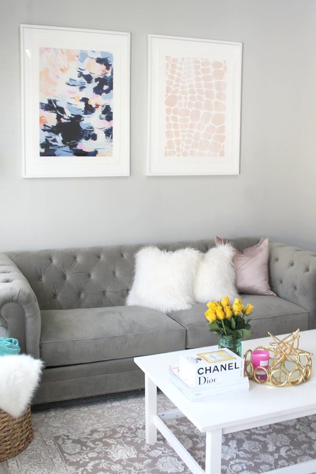How to Mix and Match Artwork with Minted II Grey Tufted Couch II Coffee Table Books II AMIXOFMIN.COM