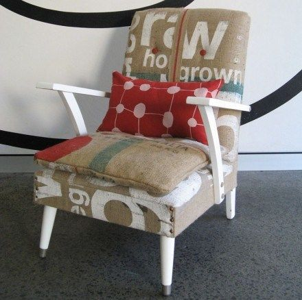 Burlap Armchair. I'm digging the idea of recovering some cushions in burlap, but where do i get the bags?