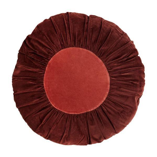Round Velvet Cushion In Dusky Rose + Paprika In 2019