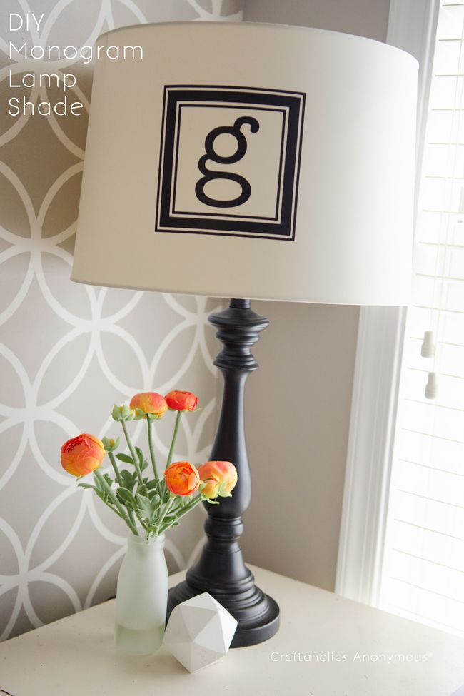 Easy monogram lampshade monograms diy monogram and easy monogram lampshade this looks awesome so easy to do too mozeypictures Images