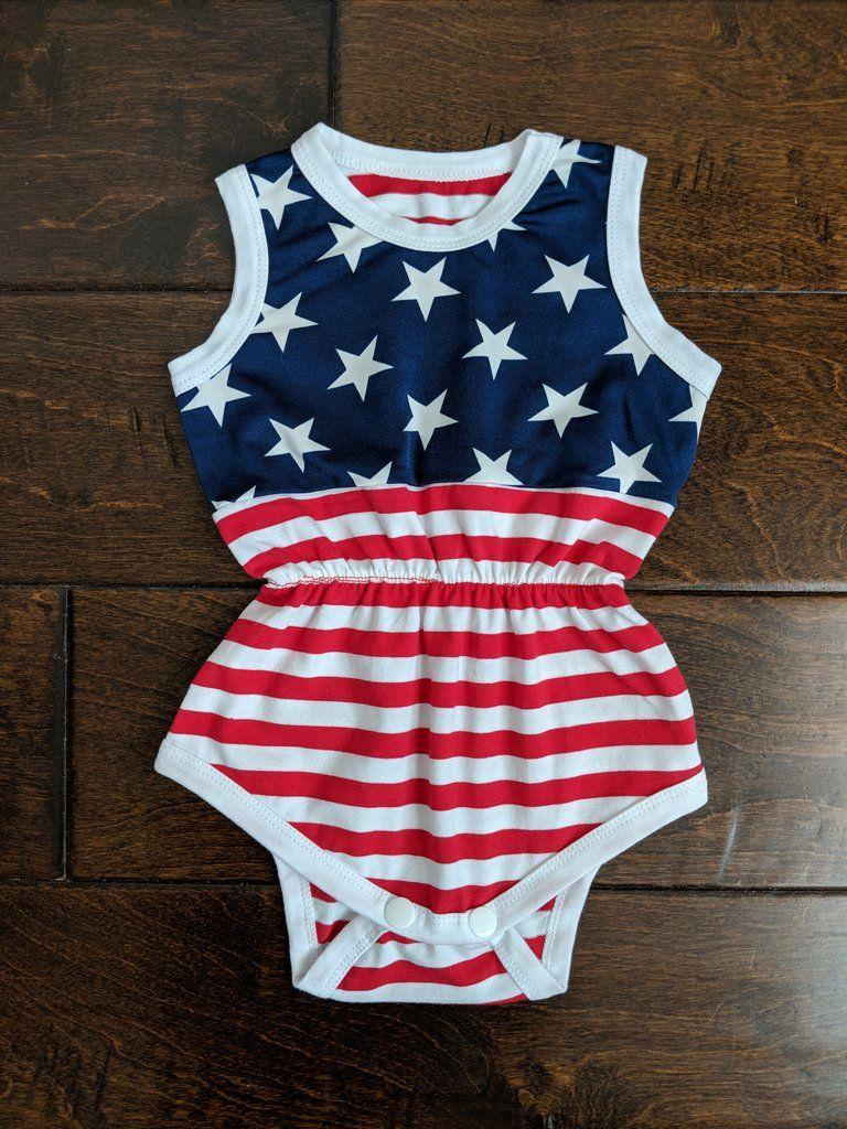 01d9c6f4b Classic American Flag Romper 4th Of July Romper Fourth Of July Romper Baby  Girl